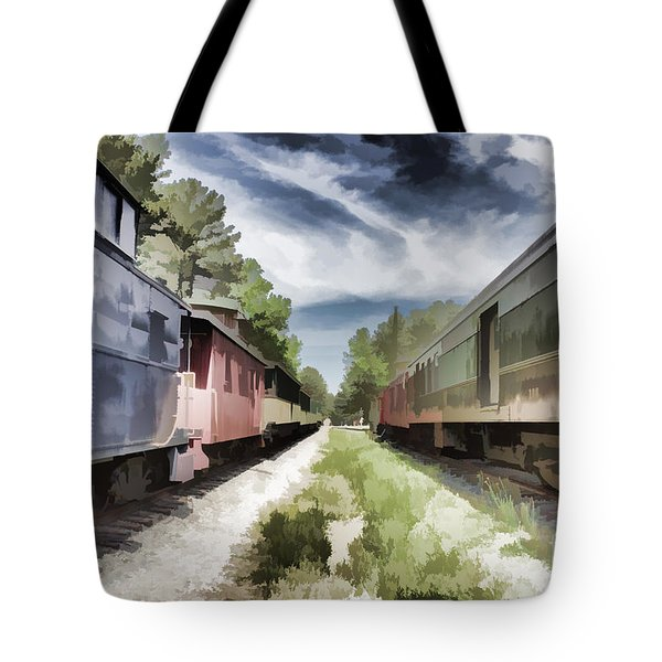 Twixt The Trains Tote Bag by Roberta Byram