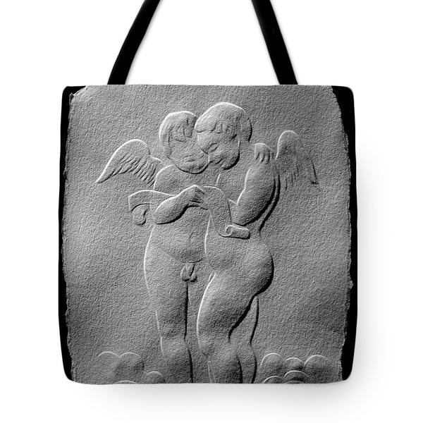 Tote Bag featuring the relief Two Angels by Suhas Tavkar