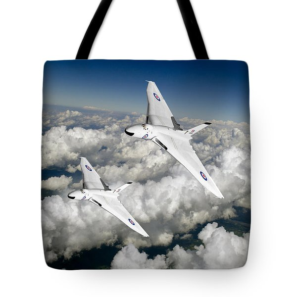Tote Bag featuring the photograph Two Avro Vulcan B1 Nuclear Bombers by Gary Eason