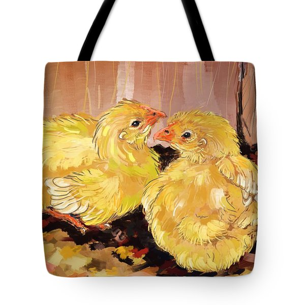 Two Baby Cornish Chicks Tote Bag