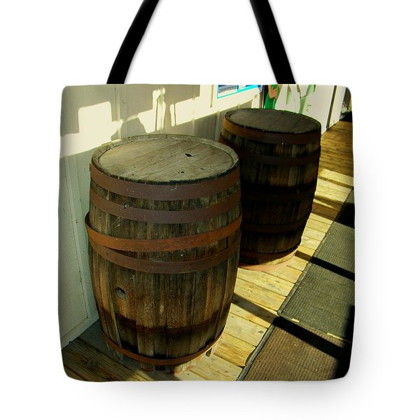 Tote Bag featuring the photograph Two Barrels by Lenore Senior