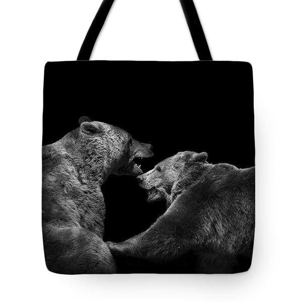 Two Bears In Black And White Tote Bag