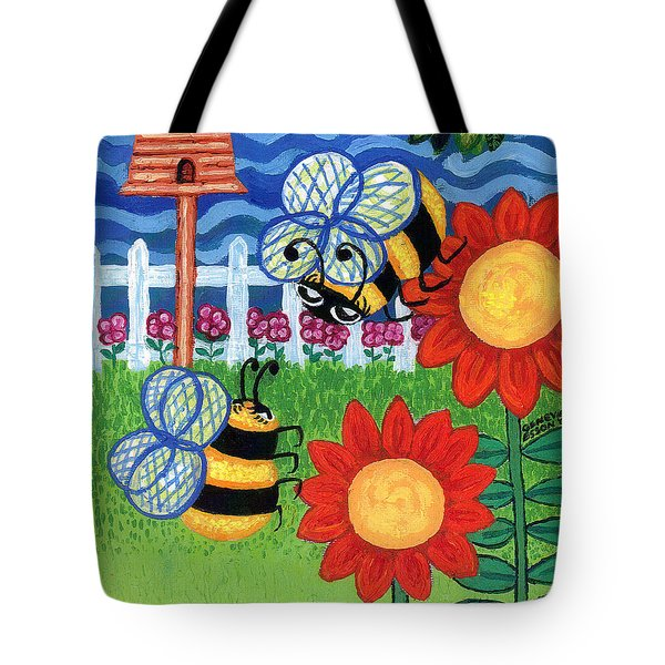 Two Bees With Red Flowers Tote Bag