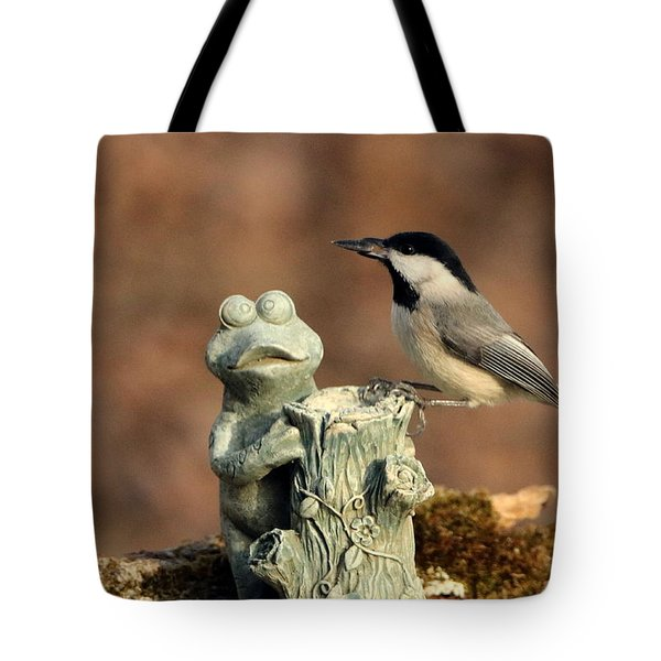 Two Black-capped Chickadees And Frog Tote Bag