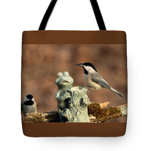 Two Black-capped Chickadees And Frog Tote Bag by Sheila Brown