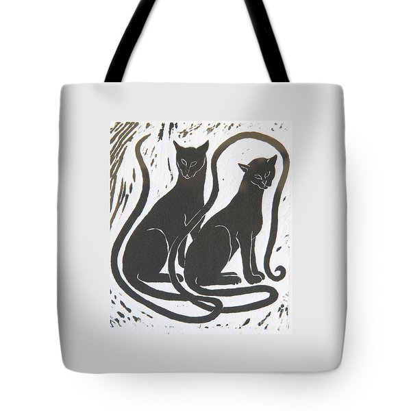Two Black Felines Tote Bag by Nareeta Martin