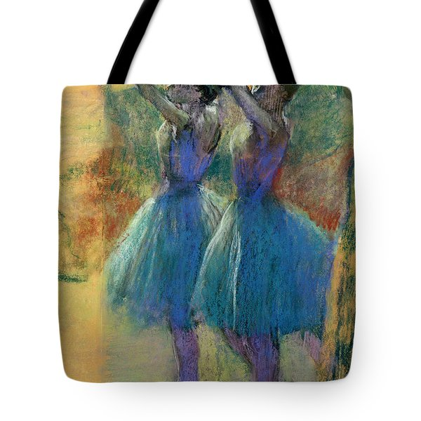 Two Blue Dancers Tote Bag by Edgar Degas