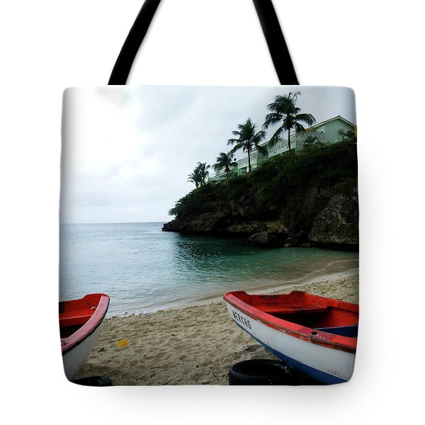 Tote Bag featuring the photograph Two Boats, Island Of Curacao by Kurt Van Wagner