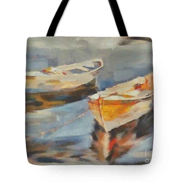 Tote Bag featuring the painting Two Boats On A Mooring by Dragica  Micki Fortuna