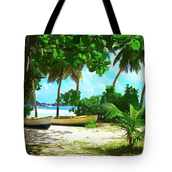 Two Boats On Tropical Beach Tote Bag