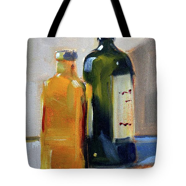 Tote Bag featuring the painting Two Bottles by Nancy Merkle