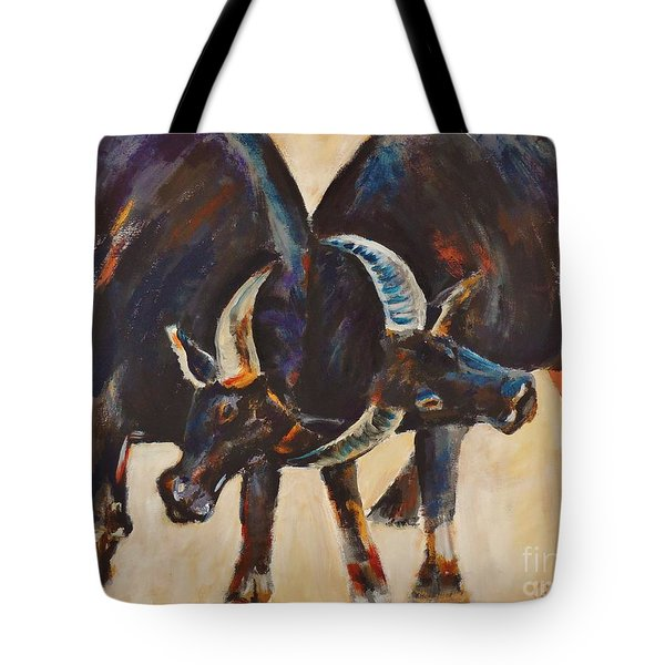 Two Bulls Fighting Tote Bag