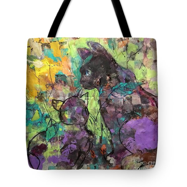 Two Calicos In The Garden Tote Bag