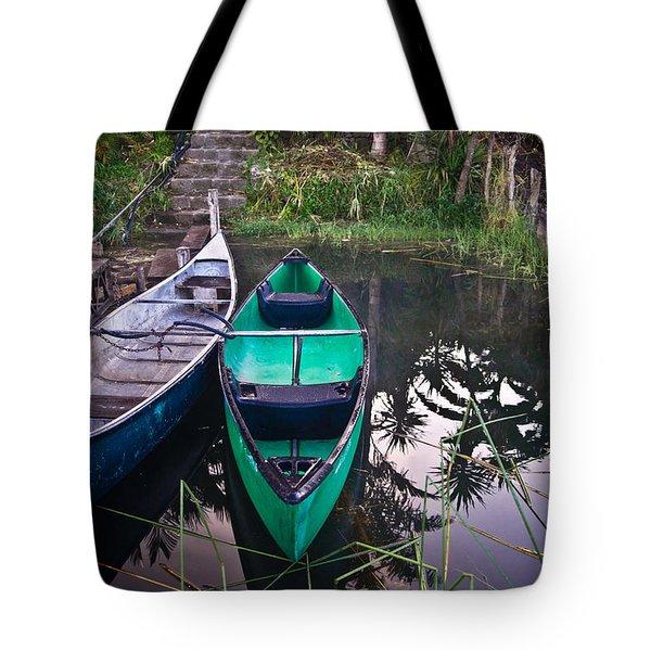 Two Canoes Tote Bag by Douglas Barnett