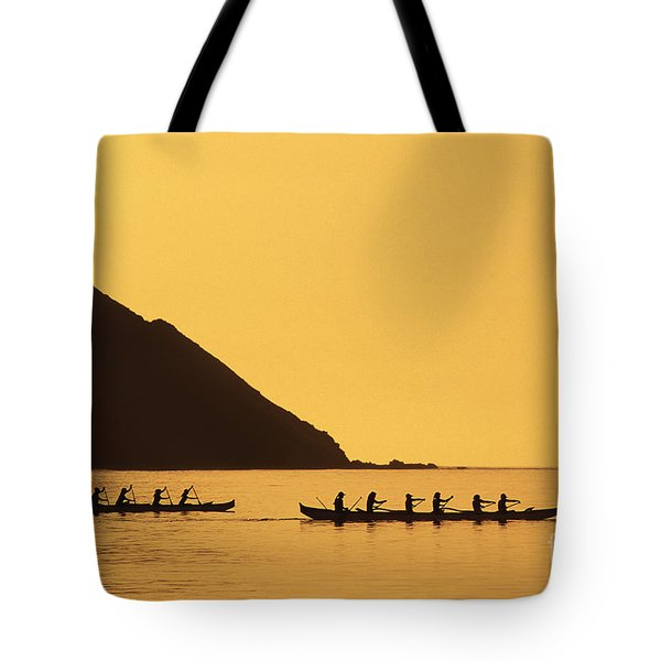 Two Canoes Silhouetted Tote Bag by Dana Edmunds - Printscapes