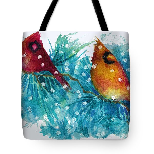 Two Cardinals Tote Bag by Peggy Wilson