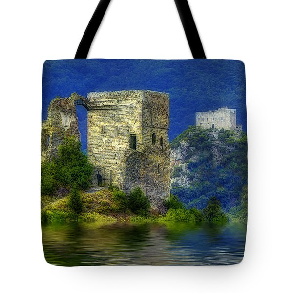 Two Castles On The Lake Tote Bag