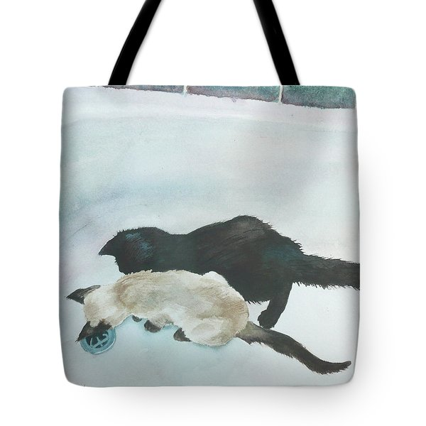 Two Cats In A Tub Tote Bag