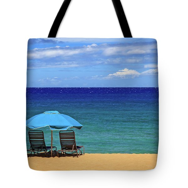Tote Bag featuring the photograph Two Chairs And An Umbrella by James Eddy