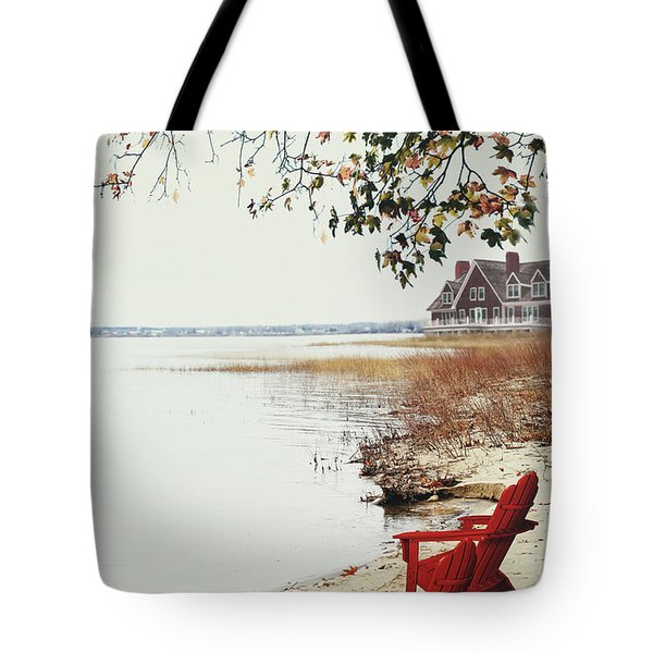 Two Chairs By The Lake's Edge In Autumn Tote Bag by Sandra Cunningham