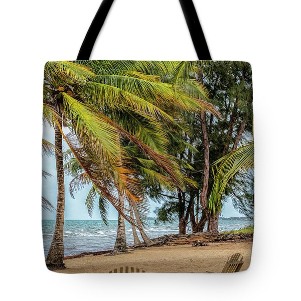 Two Chairs In Belize Tote Bag