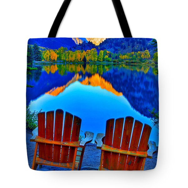 Two Chairs In Paradise Tote Bag