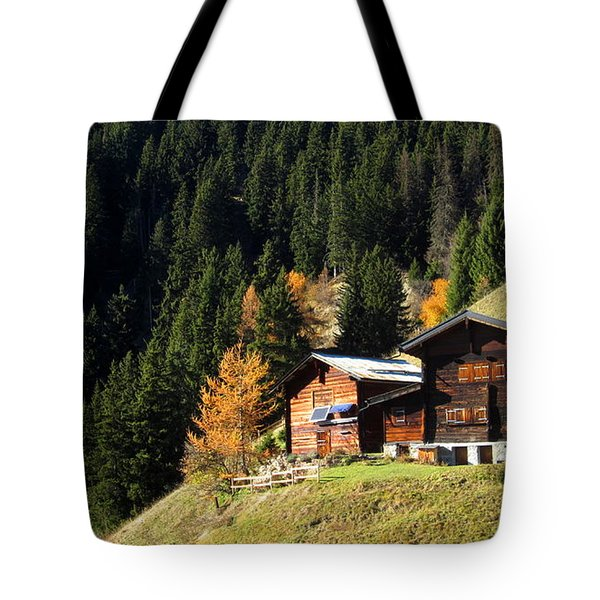Two Chalets On A Mountainside Tote Bag