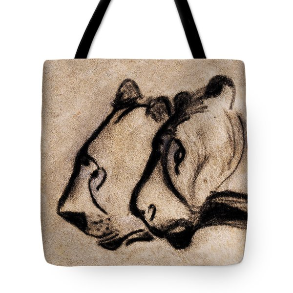 Two Chauvet Cave Lions - Clear Version Tote Bag