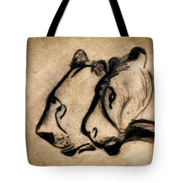 Two Chauvet Cave Lions Tote Bag