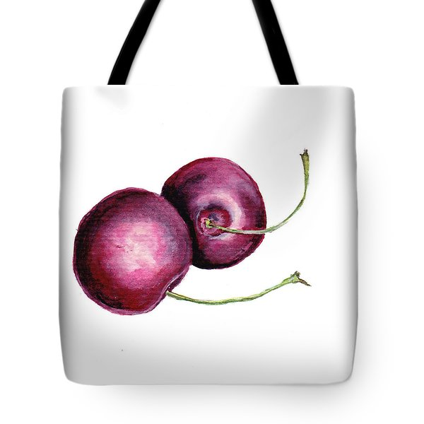 Tote Bag featuring the painting Two Cherries by Heidi Kriel