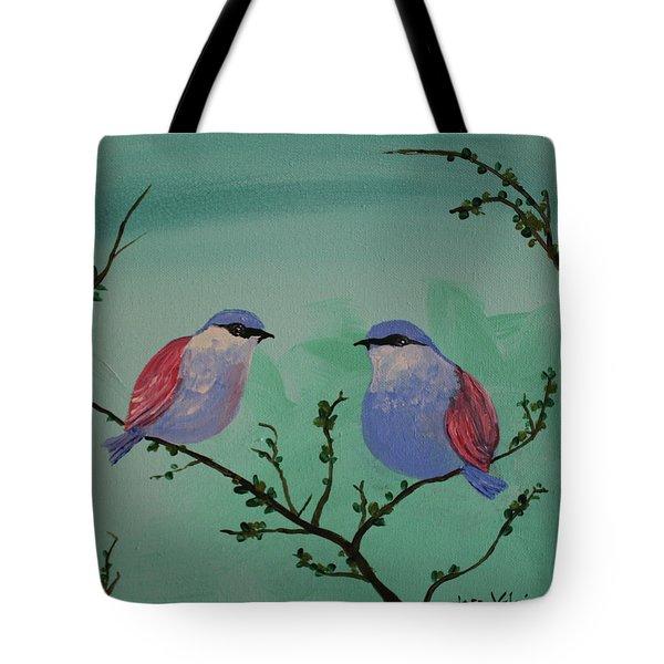 Two Chickadees Tote Bag