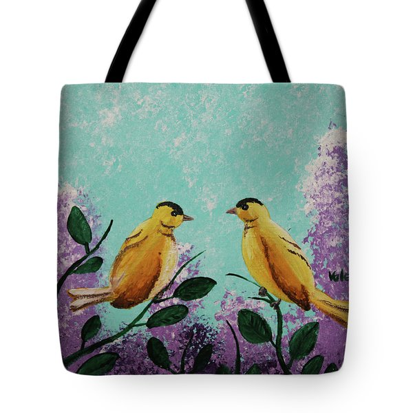 Two Chickadees Standing On Branches Tote Bag