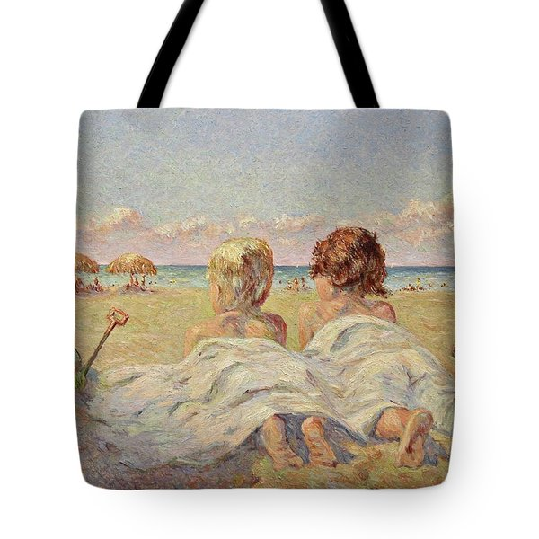 Two Children On The Beach Tote Bag