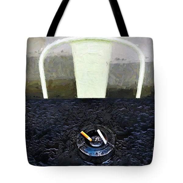 Tote Bag featuring the photograph Two Cigarettes With White Chair by Craig J Satterlee