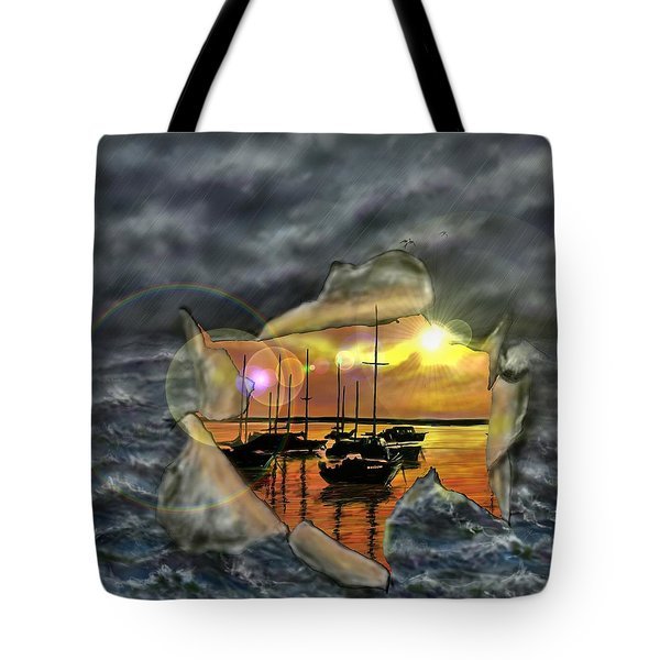 Tote Bag featuring the digital art Two Climates by Darren Cannell