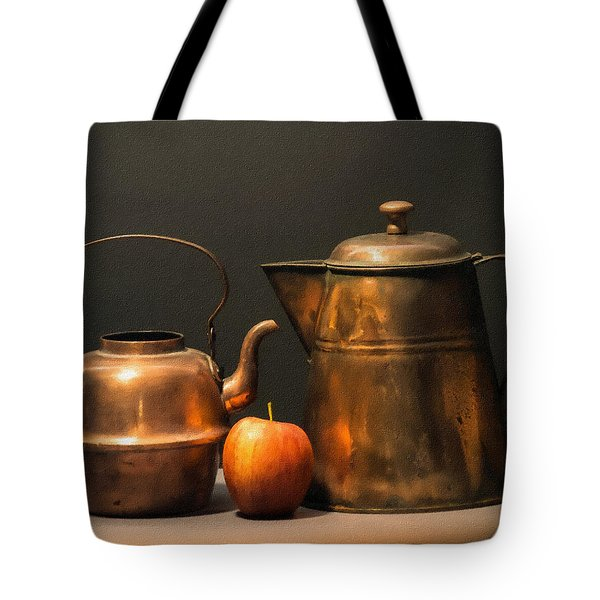 Tote Bag featuring the photograph Two Copper Pots And An Apple by Frank Wilson