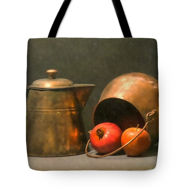 Tote Bag featuring the photograph Two Copper Pots Pomegranate And An Apple by Frank Wilson