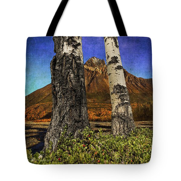 Two Cottonwood Trees And Kinnikinnik Tote Bag