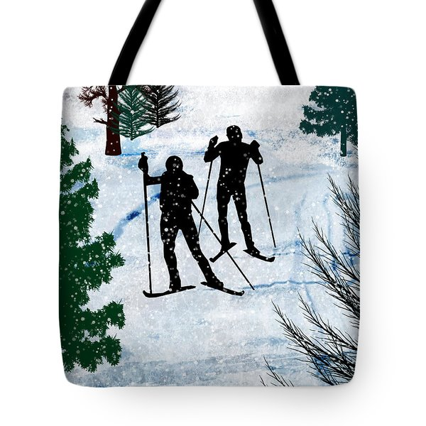 Two Cross Country Skiers In Snow Squall Tote Bag by Elaine Plesser