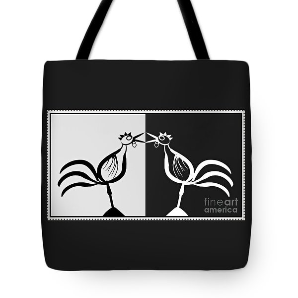 Two Crowing Roosters 3 Tote Bag