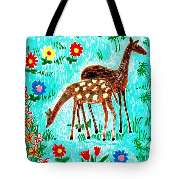 Two Deer Tote Bag by Sushila Burgess