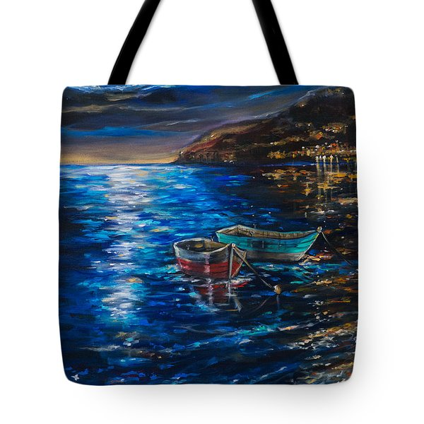 Tote Bag featuring the painting Two Dinghies by Linda Olsen