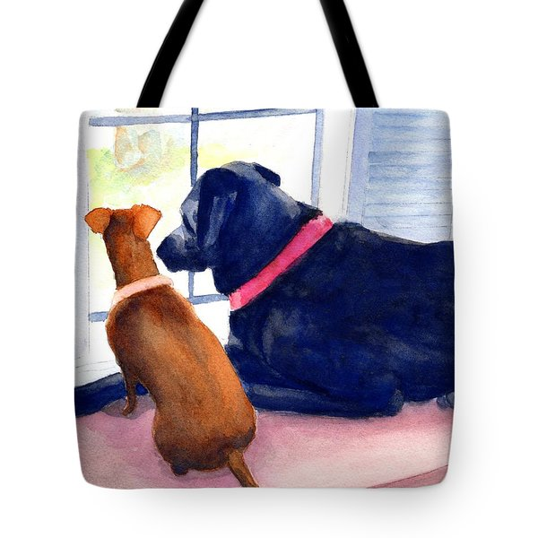 Two Dogs Looking Out A Window Tote Bag