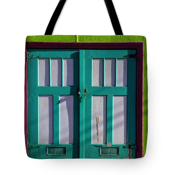 Two Doors In Green Wall Tote Bag