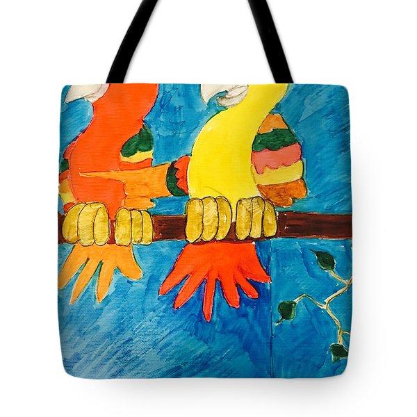 Two Double Yelloe Headed Birds Tote Bag