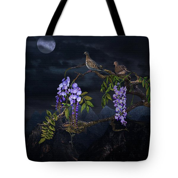 Mourning Doves In Moonlight Tote Bag