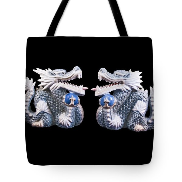 Two Dragons On Black Tote Bag by Bill Barber
