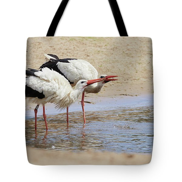 Two Drinking White Storks Tote Bag
