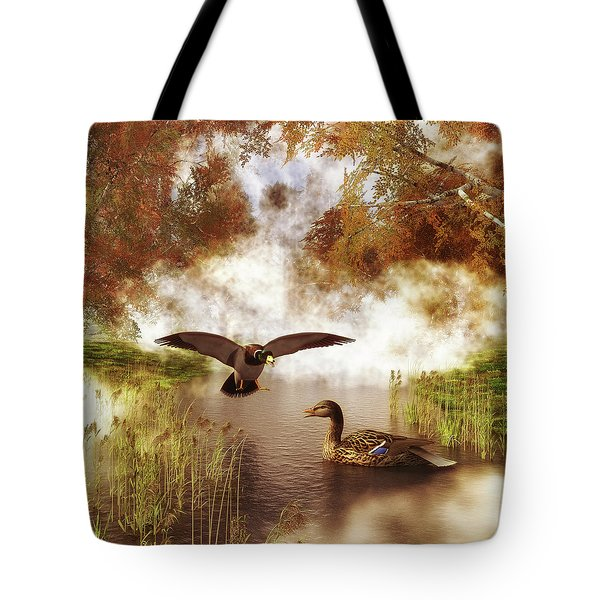 Two Ducks In A Pond Tote Bag