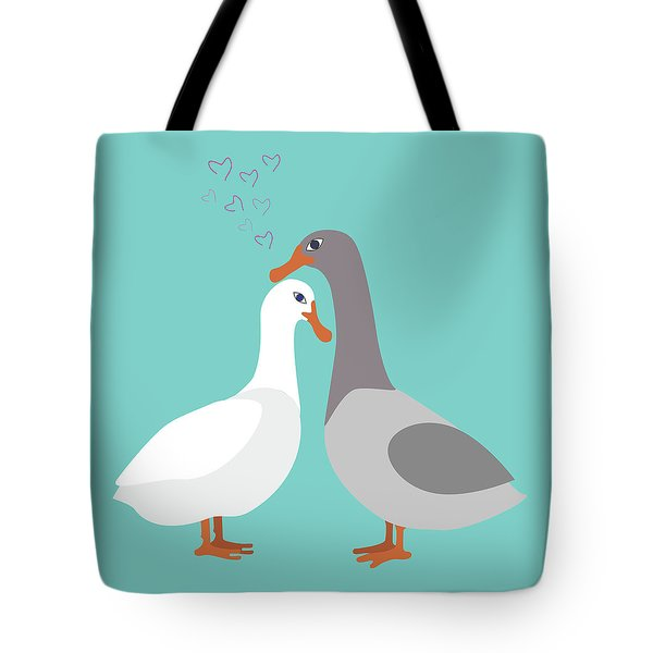 Two Ducks In Love Tote Bag